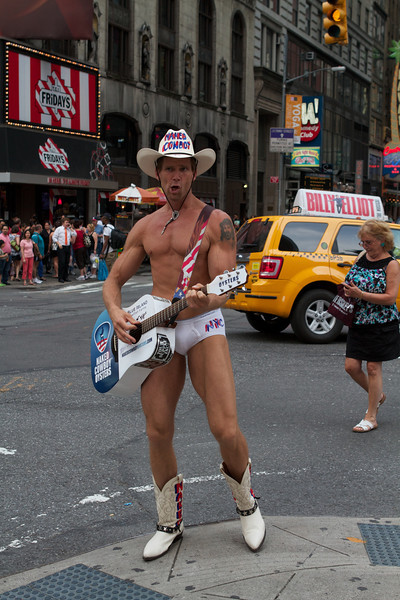 -  The naked cowboy, keeping it real.