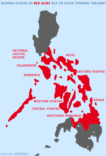 NDRRMC: Regions in the Philippines that will be hit by super typhoon Yolanda. (Graphics by Daryl D. Anunciado)