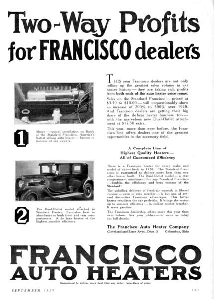 Francisco Heater Dealer Ad
