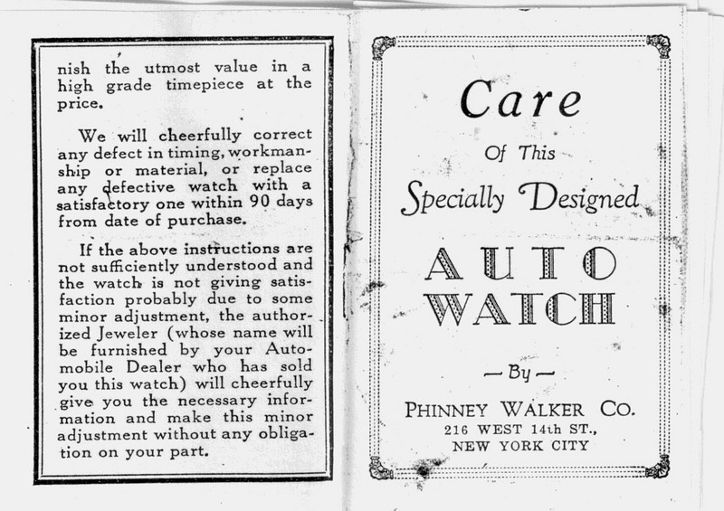 Phinney-Walker accessory clock - rim wind - Instructions - Front & Back covers