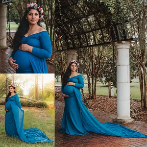 Sienna Gown in Teal layered with the Bella Gown, with extended train