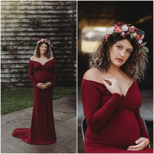 Grace Gown in Merlot with Matching Flower Crown