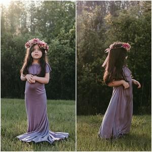 Children's Harper Gown in Dusty Amethyst with Matching Flower Crown