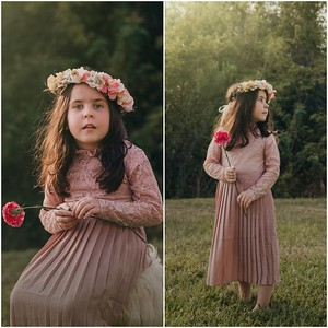 Girls Pink Lace and Pleated Dress with Matching Flower Crown