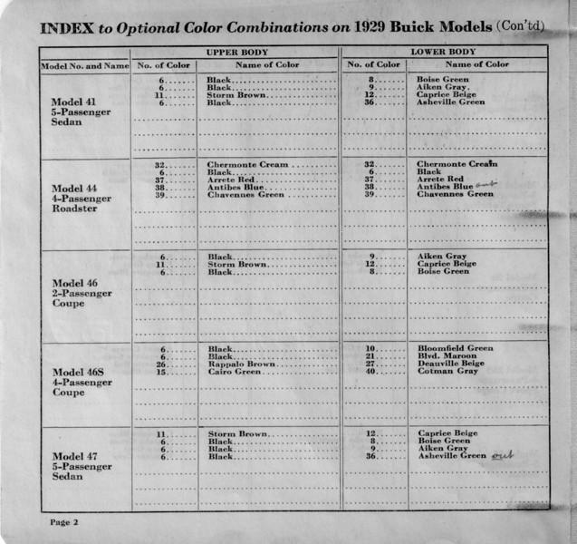 Dealer / Salesman's Colour Chip Book - Inside Page # 2