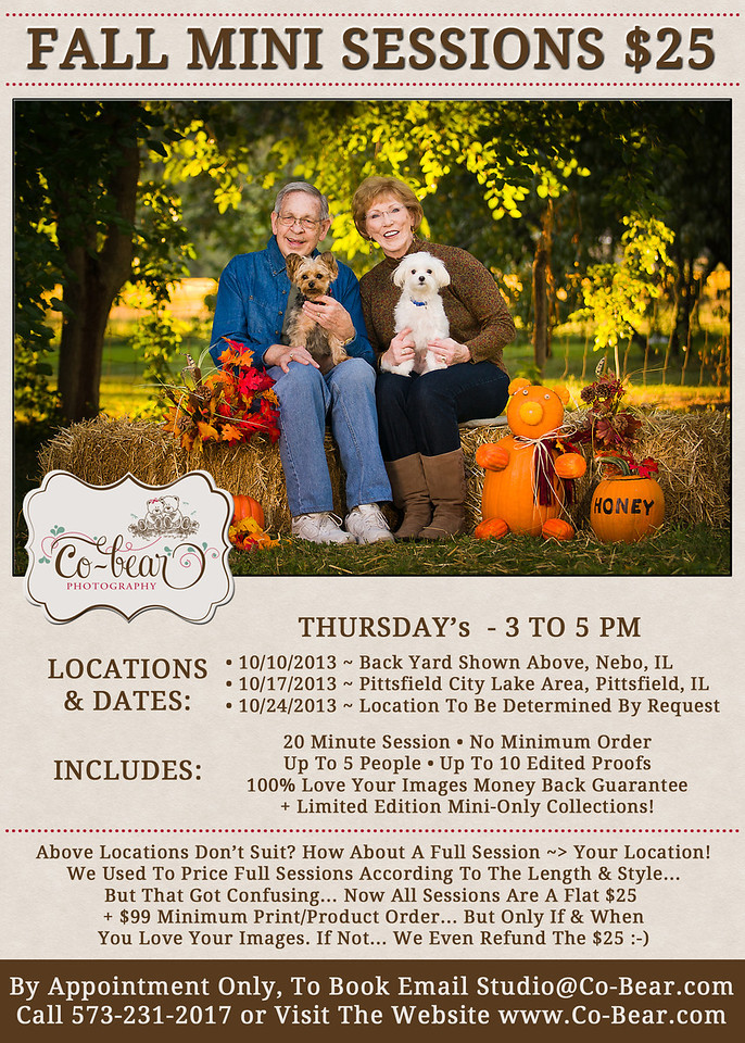 Co-Bear Photography Fall Mini Sessions; special; fall; mini; portrait; session; cobear; photography; love hugs laughter; illinois; missouri; family; child; children pets; couple; price; investment