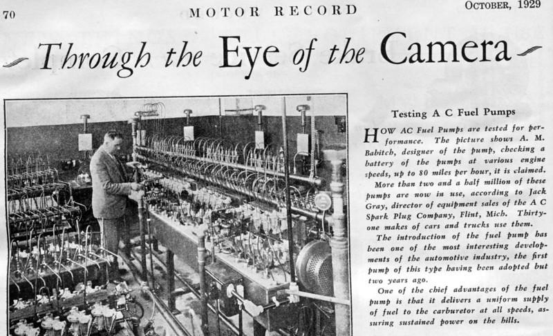 AC Fuel Pump Testing - Oct. 1929