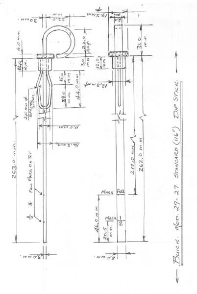 "Oil dipstick - Standard (116"" models) (Thanks to Steve Launspach)"