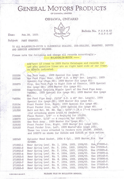 Canadian - Gas line on left side Bulletin (Feb. 20/29)