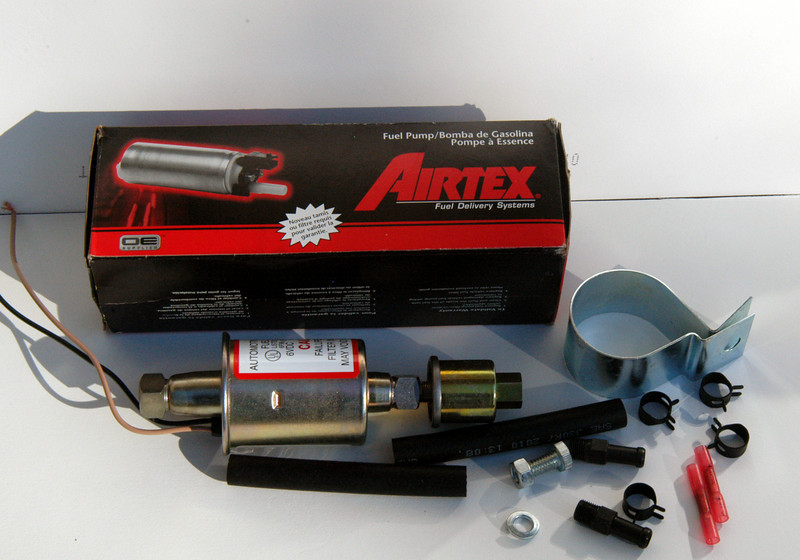 Airtex now makes two 6V electric fuel pumps, model E 8011 with 5-8 PSI and a new, lower pressure model E 8902 with 2.5-4 PSI.