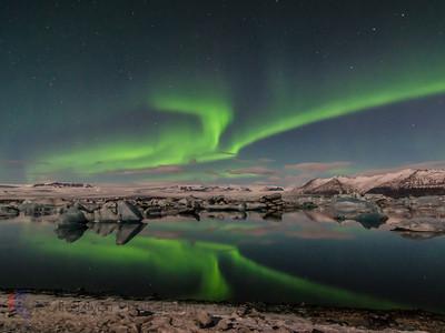 Aurora borealis über Jökulssarlón