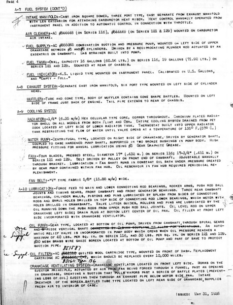 USA - Pg. 4 - Export Information (from GM Export - General Sales Dept. / Service Division) 1st Release - May 31, 1928 with several updates (Note:  See Oct. 12/28 for Final update)
