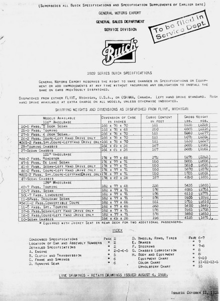 USA - Pg. 1 - Export Information (from GM Export - General Sales Dept. / Service Division) 2nd Release - Oct. 12, 1928