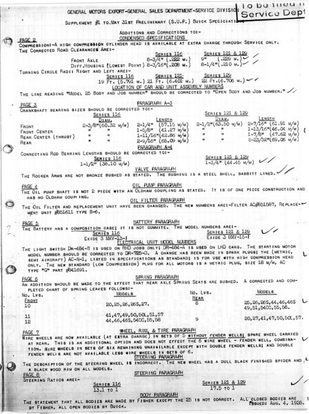 USA - Pg. 10 - Export Information (from GM Export - General Sales Dept. / Service Division) 1st Release - May 31, 1928 with several updates (Note:  See Oct. 12/28 for Final update)