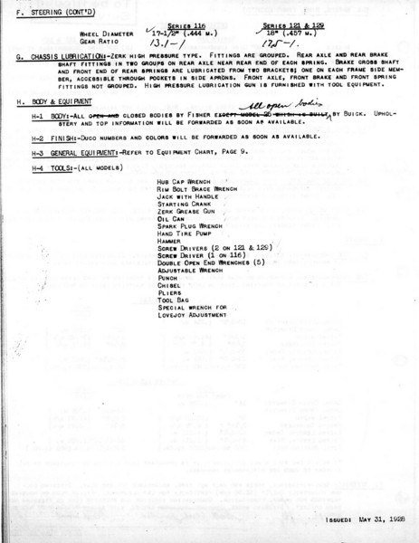 USA - Pg. 8 - Export Information (from GM Export - General Sales Dept. / Service Division) 1st Release - May 31, 1928 with several updates (Note:  See Oct. 12/28 for Final update)