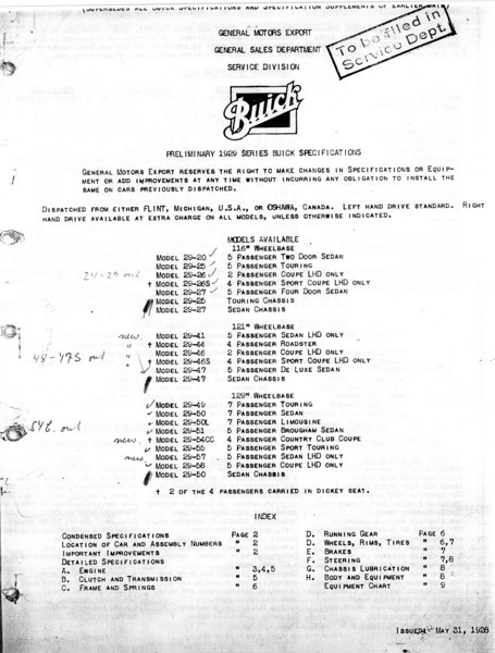 USA - Pg. 1 - Export Information (from GM Export - General Sales Dept. / Service Division) 1st Release - May 31, 1928 with several updates (Note:  See Oct. 12/28 for Final update)