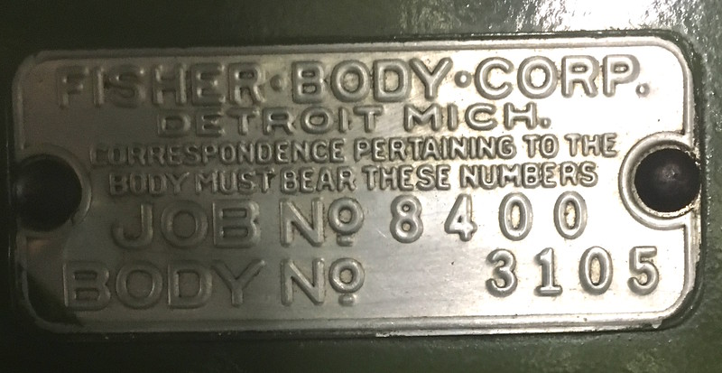 Fisher Body Tag - on Firewall, from Job. No. 8400 for model 29-48 with consecutive body number 3105 (out of 4255 model 48's produced).