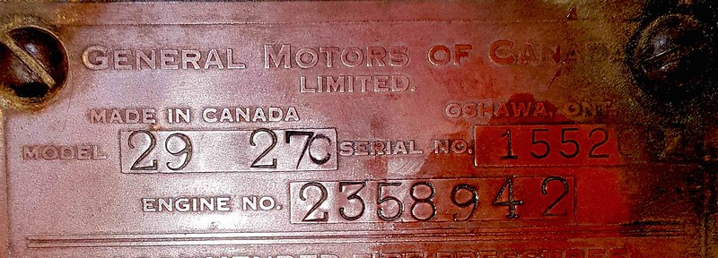 Firewall plate on a model 27 owned by Knut Arne Windsand, in Norway.  Car was built in Canada.