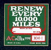 Oil filter label
