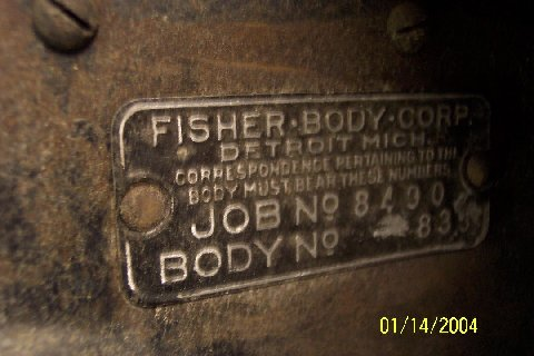 USA Fisher Body Closed car firewall body tag / info (From a model 29-48)