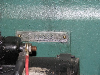 USA - Early engine number tag (riveted to block.  Late had numbers punched into block)