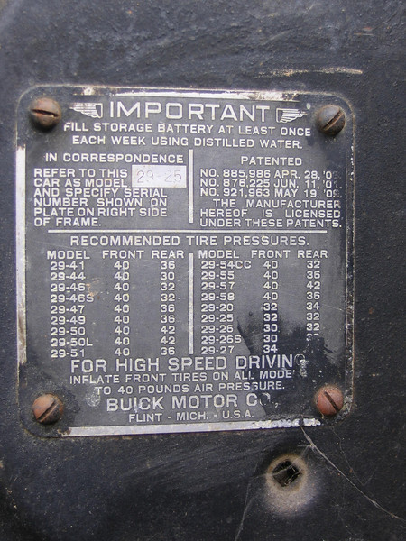 USA ID Firewall Plate (only model number punched).  Late plate.  (Plate off Finnish car)