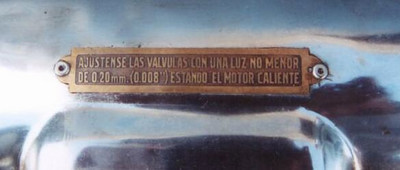 Spanish Valve Adjustment tag (on valve cover)