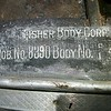 Fisher Body Corp. stamp on drivers side sill from a model 29-27 (body No.: 40143).