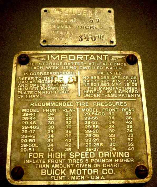 Firewall Plate from a 29-25X in Australia.  Note:  it is stamped backwards 25-29.  Also, Holden Build Plate showing Body No.: 55, Model: Buick, Series: 29-111 and Job No. 3402.