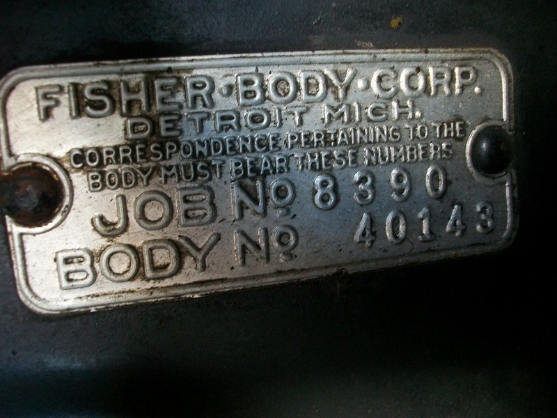 Fisher Body Corp. tag from firewall on a model 29-27 (body No.: 40143).