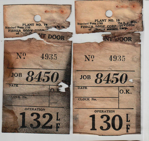 29-50 During Restoration:  Original Production Line Job tags.  Job Number matches the Data Plate on Firewall.   I found the Job Tags in the rear door of the car.