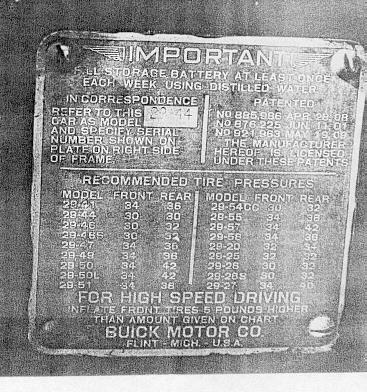 "USA ID Firewall Plate (only model number punched).  Early plate - the late plate had ""Infate front tires on all models to 40 pounds air pressure"""