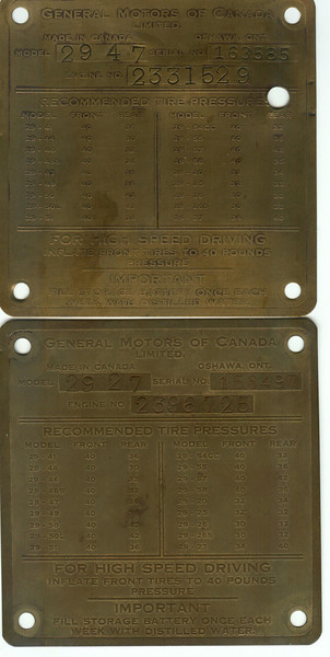 Canadian ID plates (with model, serial and engine number)