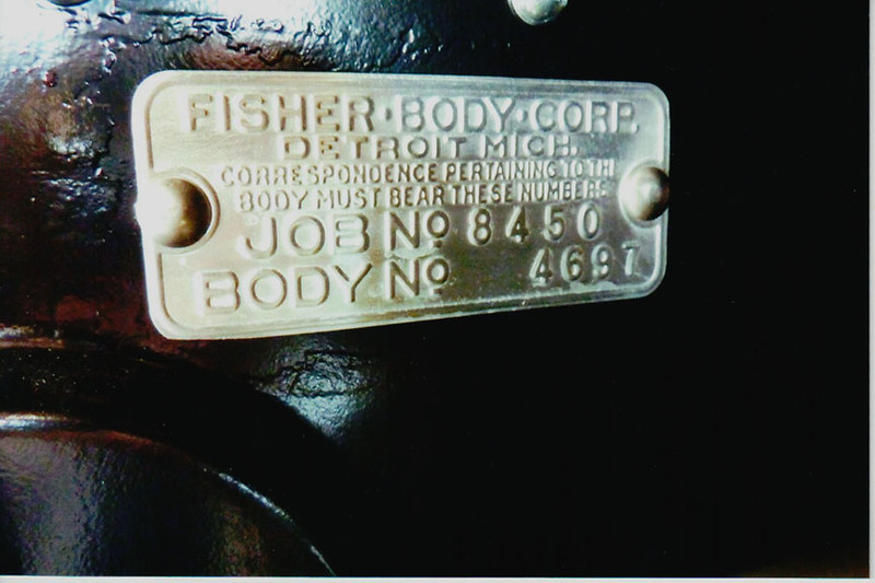 Fisher Body Tag - on Firewall, from Job. No. 8450 for model 29-50 with consecutive body number 4697 (out of 8377 model 50 and 50X's produced).