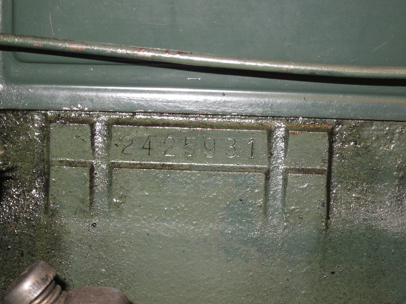 Engine Number - late car (stamped onto block.  Early engines had tag riveted to block).  This is on a 29-44 McLaughlin Buick.