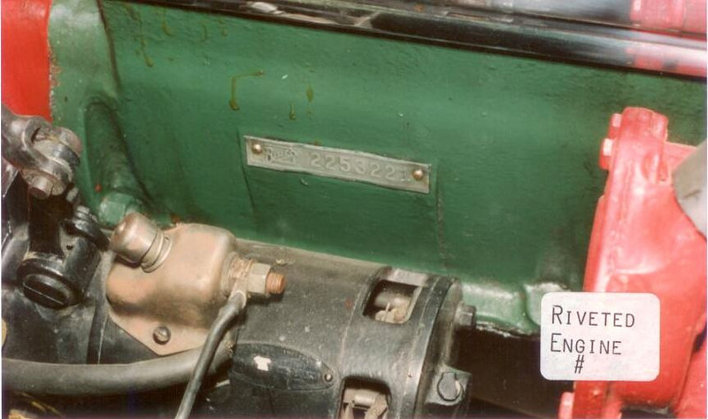 Engine Number Tag - Riveted - early models (vs. punched in - later models)