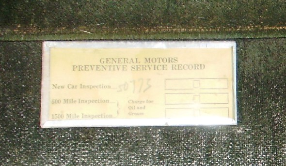 GM - Service Card / Holder in 29-51 McLaughlin Buick