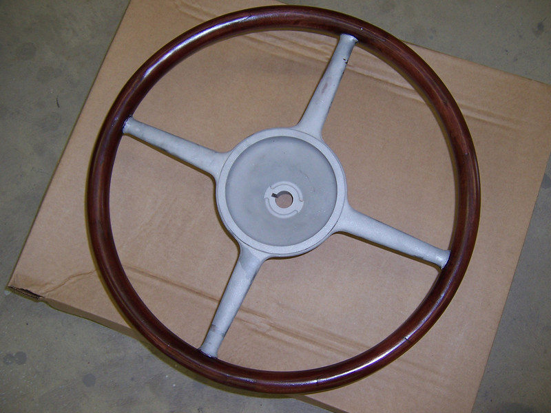 """Steering Wheel - Top (Note:  Wood and bars are painted black).  Master wheel is larger than Standard.  Master is 16&1/8"""" inside diam., Standard is 15&1/2""""."""