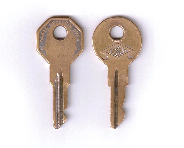 Keys - From 29-44 McLaughlin Buick (believed to be original).  Left is Ignition
