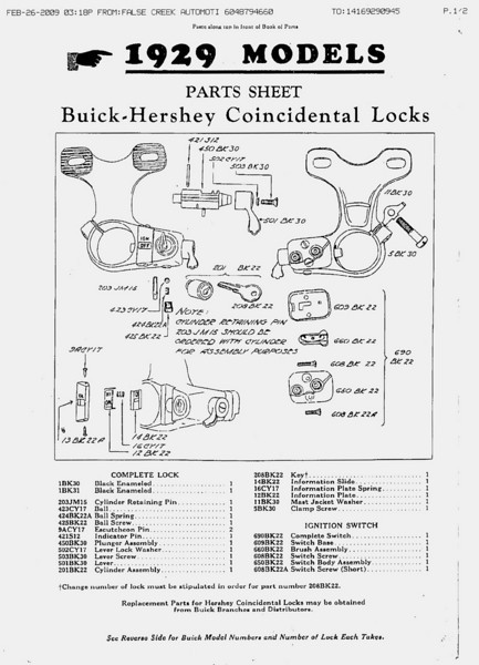 Buick-Hershey Steering Col. Lock - Pg. 1  (Note different bracket for open and closed cars)
