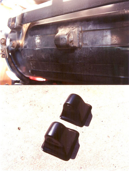 Rear spare tire bracket covers (installed by factory on sidemounted cars)