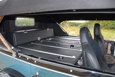 29-25X - Locker covers hiding auxiliary gas tank and storage.  Car to be run in the 2010 Peking to Paris Rally.