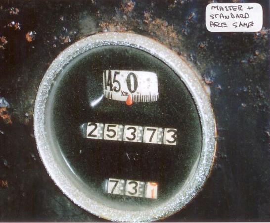 Kilometer speedometer (145 Km) - used on both Standard and Master models