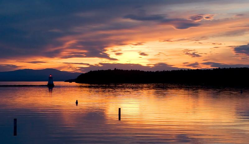 Nightfall, Burlington Harbor