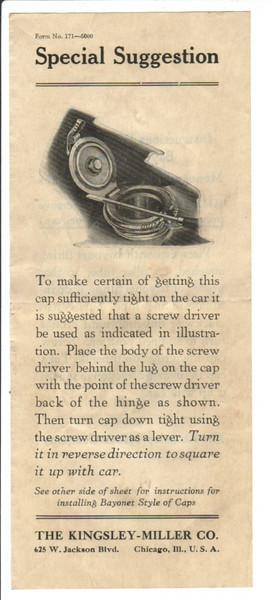 Kingsley-Miller after-market radiator cap - instructions