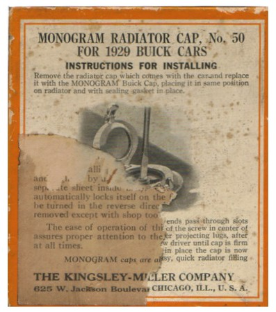 Kingsley-Miller after-market radiator cap - box info