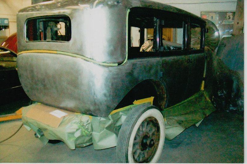 29-50 During Restoration:  Body stripped to bare metal