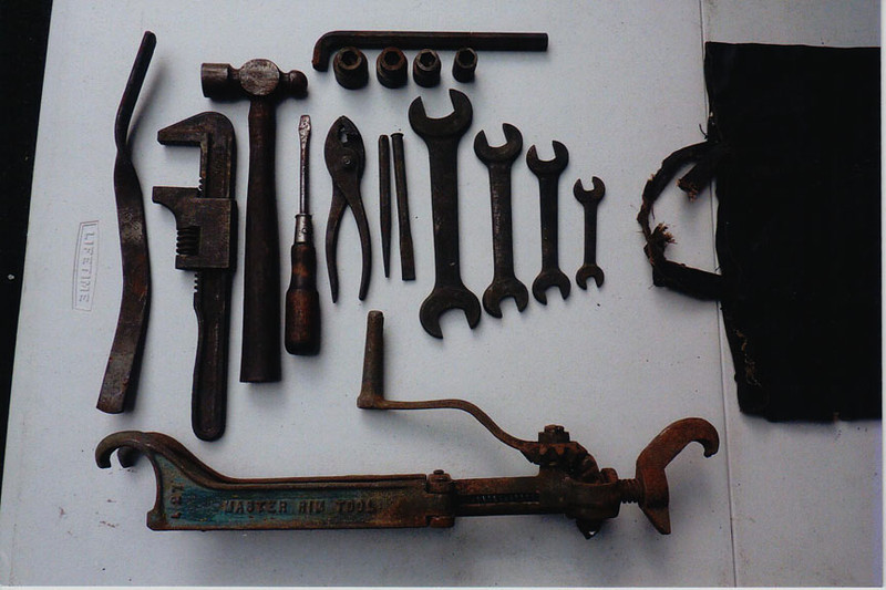 29-50 During Restoration: All the Original tools found in the bag under the rear seat