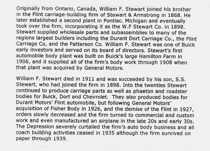 Stewart Body Company Information (made the bodies for the open cars 25, 44, 49 & 55 - note:  54CC body was made by Fisher Body.