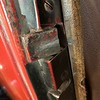 "29-44 Door:  The triangle door latch strike is:  1"" High x 1&1/4"" long.   It's 3/16"" wide at front  x 5/8"" at rear."